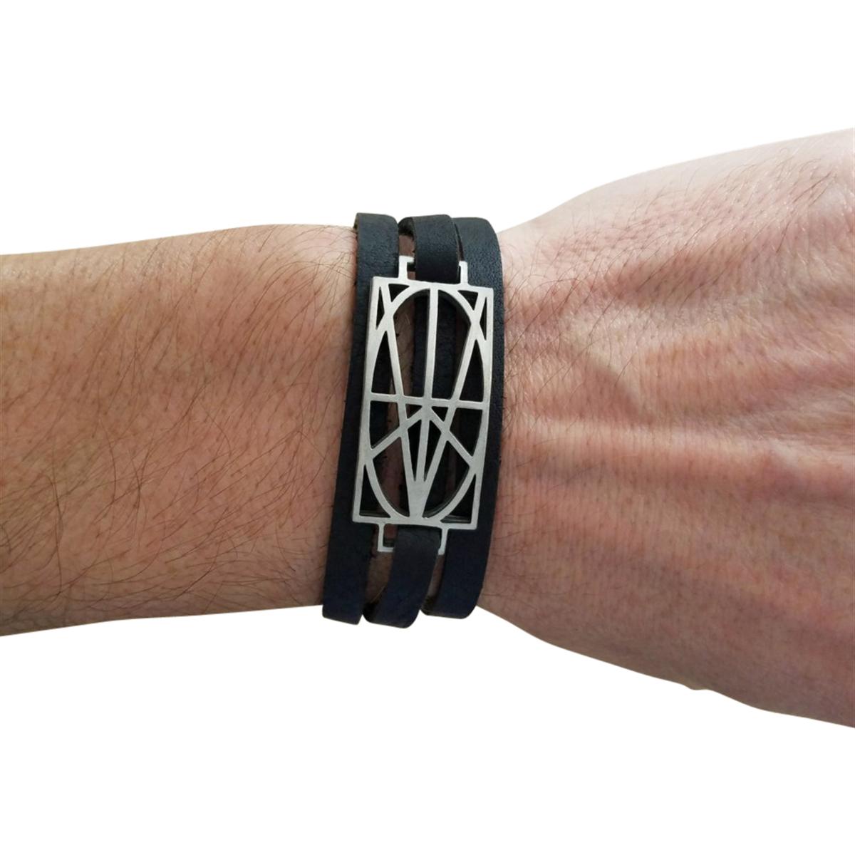 Picture of Men's Black Leather Wrap Bracelet
