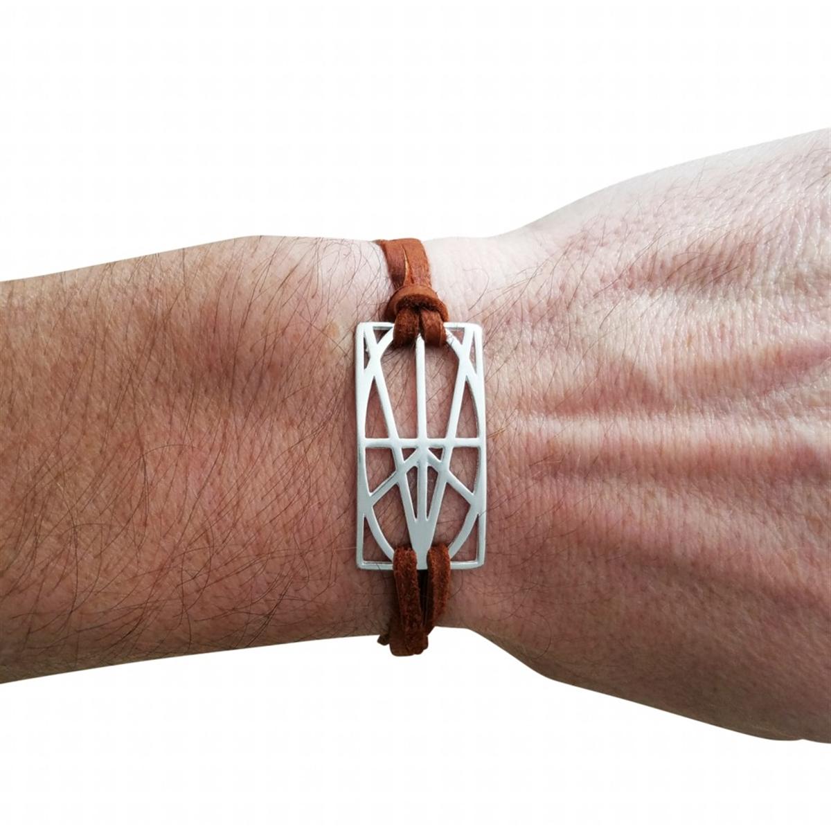 Picture of Men's Sterling Silver Wrap & Tuck Bracelet - Brown