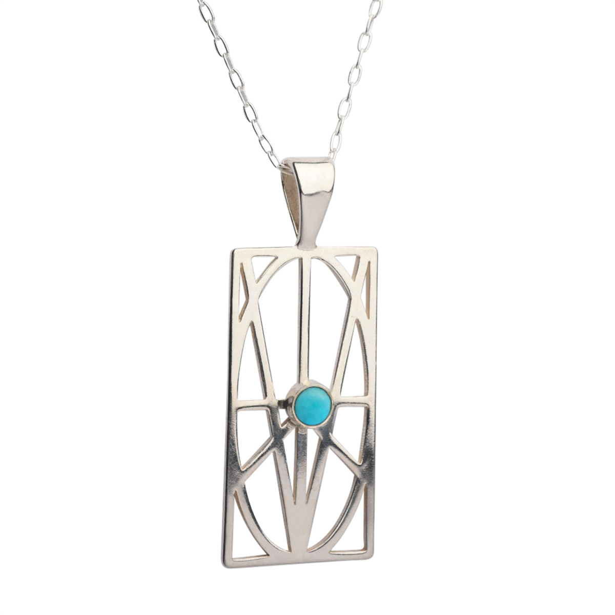 Picture of Women's Large Sterling Silver Pendant with Turquoise